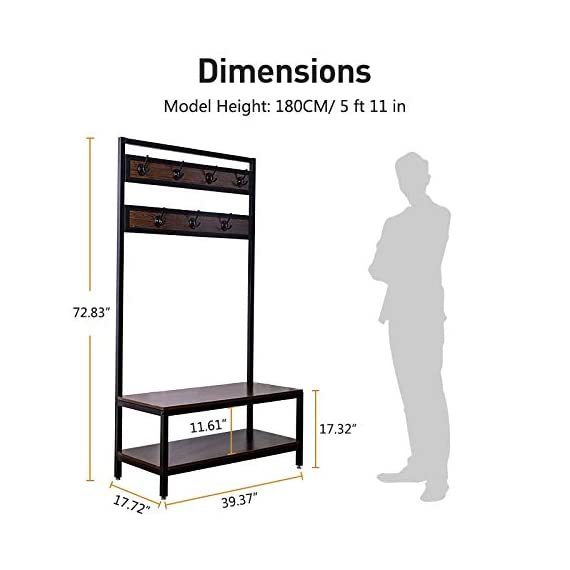 Macmon Direct Coat Rack Shoe Bench Metal Hall Tree Entryway Storage Organizer with Hat Umbrella Rack 7 Hooks - SCENE DESIGN: Our hall tree design is suitable for all Spaces, whether dormitory, apartment, hall, corridor, mud room, entrance or office. The black metal material is matched with black walnut wood, which makes your space full of retro elegance. SOLID CONSTRUCTION: The strong iron frame and thickened plate give you a stable, convenient and comfortable seat when you put on or take off your shoes. There are four adjustable feet that allow the hall tree to stand steadily on carpet or uneven ground. STRONG BEARING CAPACITY: Sturdy metal frame allows the whole coat rack and stable to hold up to 300 lbs; shoe bench has a weight capacity of 250 lbs, so coat rack gives you a convenient, sturdy place to sit while putting on or taking off shoes. - hall-trees, entryway-furniture-decor, entryway-laundry-room - 41e2jaNr14L. SS570  -