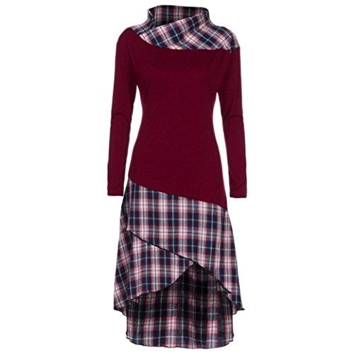 Popoka Women High Neck Plaid Pattern Patchwork Dress Shirt Ladies Long Sleeve Tops Dress (XXL, Wine - Fashions Vogue Out Night