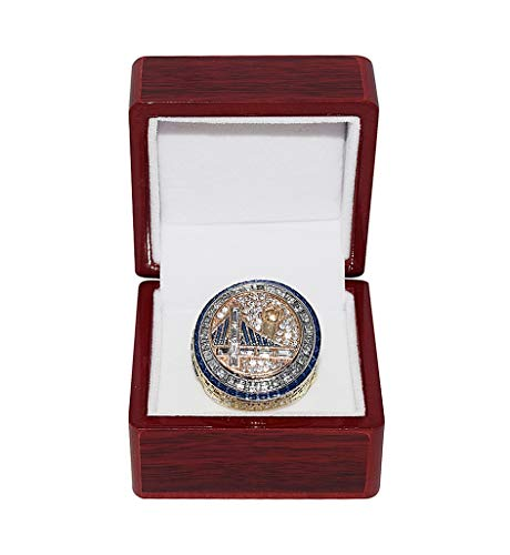 GOLDEN STATE WARRIORS (Kevin Durant) 2017 NBA FINALS WORLD CHAMPIONS Collectible High-Quality Replica NBA Basketball Gold Championship Ring with Cherrywood Display -