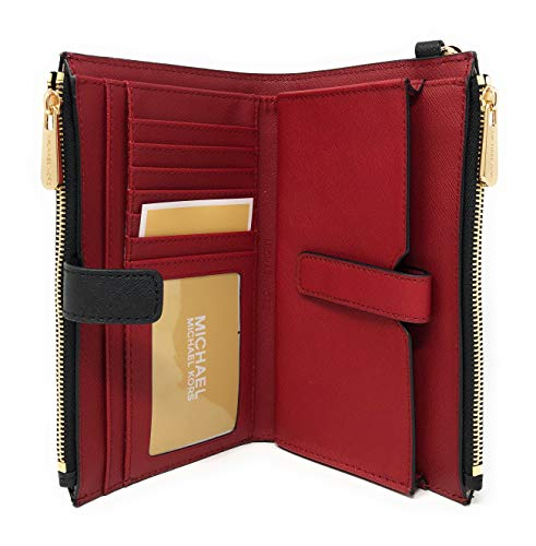 Michael Kors Jet Set Travel Double Zip Saffiano Leather Wristlet Wallet (PVC Black/Red Rose) by Michael Kors (Image #3)