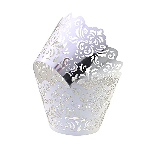 UNIQLED Filigree Artistic Bake Cake Paper Cups Little Vine Lace Laser Cut Liner Cupcake Wrappers Baking Cup Muffin Holder Case for Wedding Birthday Party Decoration (60, Metallic Silver 1)