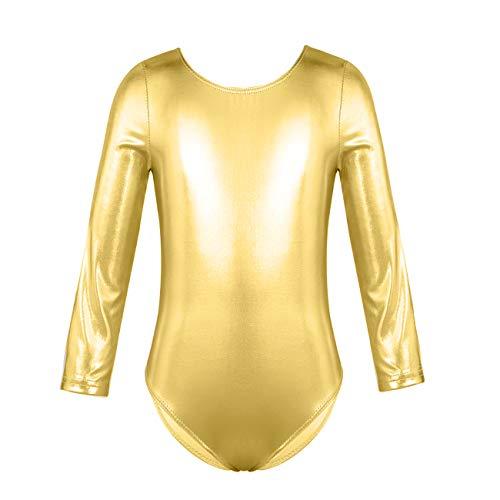 furein Maillot de Danza Ballet Gimnasia Leotardo Body Clásico Brillante Elástico para Niñas de Manga Larga Cuello Redondo (4 años, Oro)