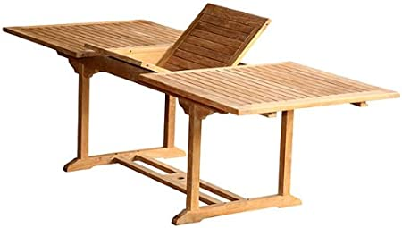 Mesa extensible rectangular de madera sólida de teca para jardín y terraza: Amazon.es: Jardín