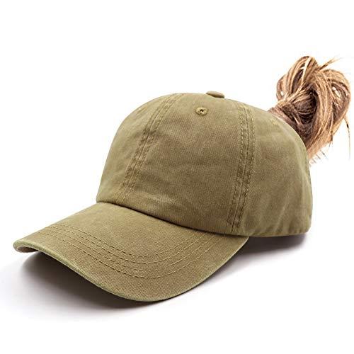 Ponytail Vintage Classic Cotton Dad Hat Adjustable Plain Cap Low Profile (Unconstructed)Messy High Bun Hat Ponycaps Adjustable Cotton Baseball Cap Light Khaki