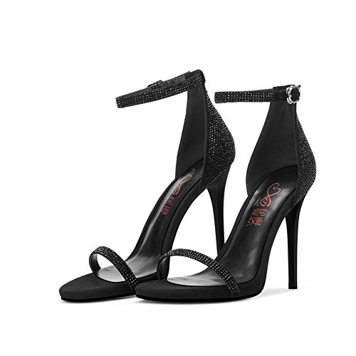 Tpr Eu39 Temporada De Tacón Sandalias Mujer Abierta Alto Zapatos uk6 Individuales Negro Lenguado Verano Tamaño Qidi Punta Zt5qF