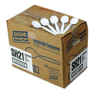 Dixie SH217 Plastic Cutlery, Heavyweight Soup Spoons, White, 1000/Carton by Dixie