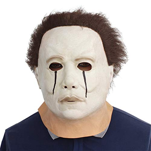 Novelty Creepy Scary Horror Halloween Cosplay Party Costume Latex Head Mask - Michael Myers Weep]()
