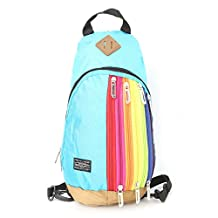 Best-topshop Rainbow Shoulder Bag with Zipper for Women Girls, Nylon Casual Pouch Crossbody Bag for Travel Shopping Party School Outdoor (Sky Blue)