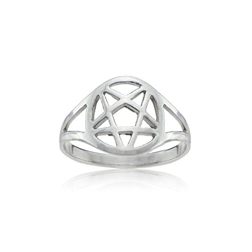 Sterling Silver High Polished Pentagram Pentacle Five Pointed Star Ring, Size 5 - Sterling Silver Pentacle Ring