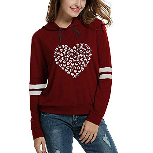 Sunhusing Ladies Dog Paw Love Heart Pattern Printing Hoodie Stripe Long Sleeve Top ()