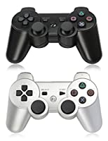 XFUNY Pair of 2 Wireless Bluetooth Game Controllers for PlayStation 3 PS3 Double Shock (1 Black + 1 Silver)