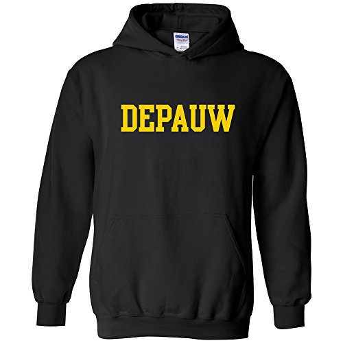 (AH01 - DePauw Tigers Basic Block Hoodie - Large - Black)