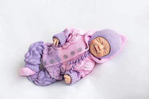 Knitted Baby 3-piece Set, 0-6 mon, Bodysuit with Hat & Socks, Hooded Coverall Romper, Warm Gender Neutral Infant Clothes, Newborn Coming Home Outfit