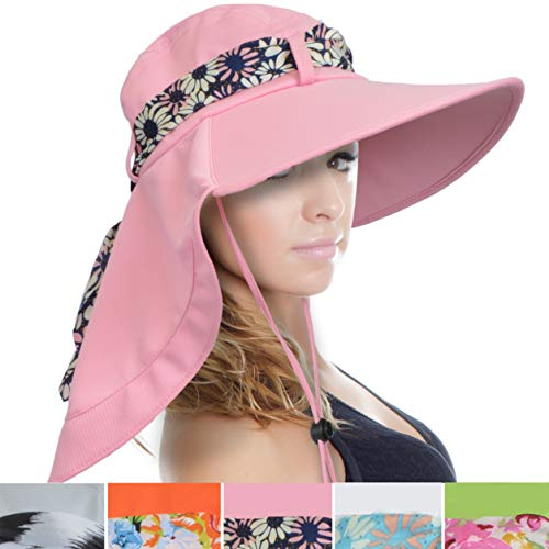 Tirrinia Women Wide Brim Adjustable UPF 50+ Sun Hat Safari with Floral Ribbon for Beach Hiking Camping Fishing Gardening Pink