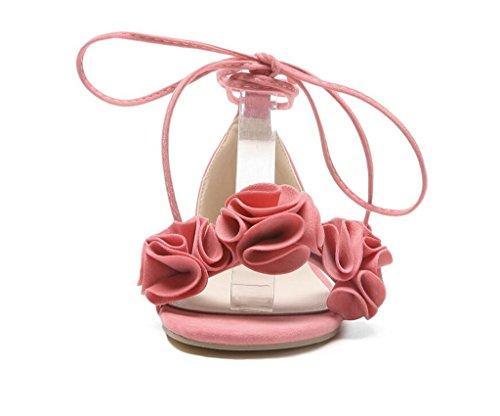 31 Para Diario 1cm 41 Pink Planas flores Tobillo Correas Sandalias Cómodo Xie De 42 Adolescente estudiante antideslizante Black Mujer 31 SE1TWq