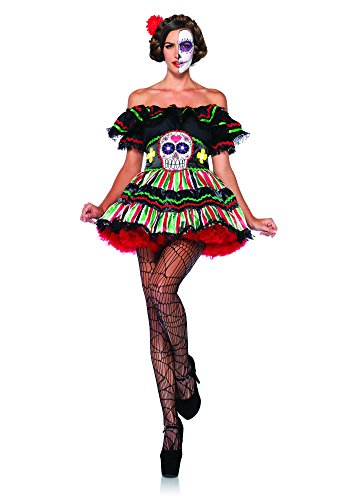 Costume Candy Skull (Leg Avenue Women's 2 Piece Day Of The Dead Doll Costume, Black/Multi-Colored,)