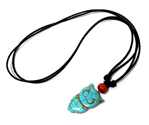 Lucky Charm Pendant Necklace (Owl Turquoise Color Pendant Necklace Lucky Owl Necklace Wood Beaded with Adjustable Black)