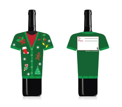 Fun Wine Bottle Cover by Wine Wear [Ugly Sweater] – Wine card for gifting wine for Christmas or to use as a Holiday decoration