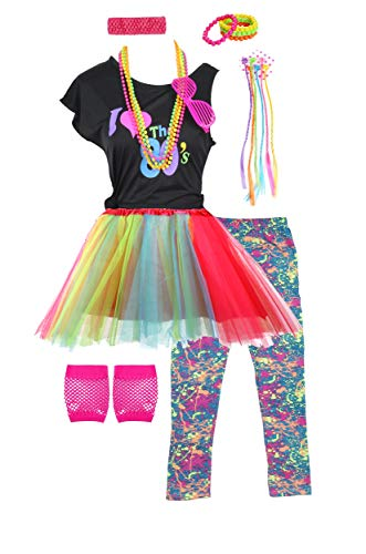 Fashion by Janestone Girls 80s T-Shirt Costume Outfit Accessories Headwear Skirt Leggings Gloves (10/12, -