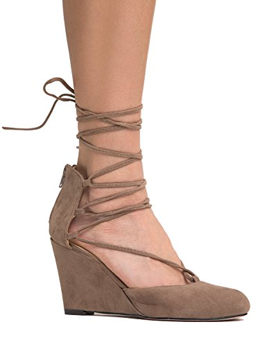 J. Adams Lace Up Low Wedge Shoe - Round Toe Heel - Trendy Strappy Comfortable Heels - Muffin by