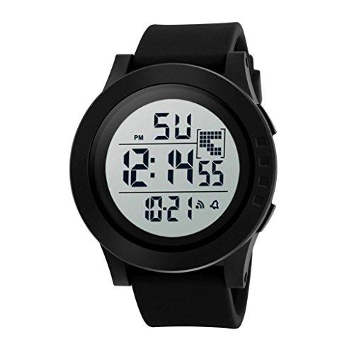 Nikuya Men's Fashion Luxury Sport Date Watches LED Waterproof Digital Quartz Military watch water resistant 50m (Black)