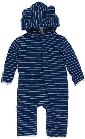 df6638813 KicKee Pants Print Quilted Hoodie Coverall with Sherpa-Lined Hood in Tokyo  Navy Stripe/