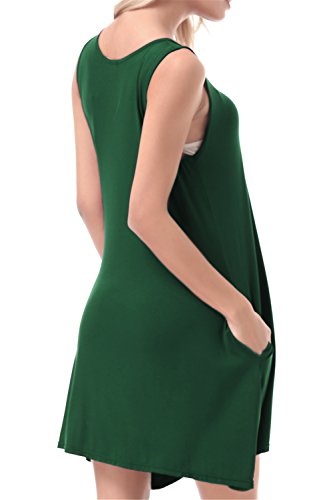 FISOUL Women Tops O-Neck Sleeveless Dress With Double Pockets Loose Bottoming Shirt Green M by FISOUL (Image #3)