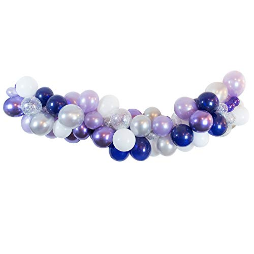 Autupy 80pcs 12 Inch Mixed Navy Blue Lavender Purple Silver Confetti White Balloon Arch Garland For Wedding Bridal Shower Party ()