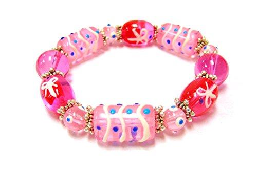 Linpeng GBP-011 Beaded Bracelet for Women Girls, Gift For Women, Glass Beads Stretch Bracelet -Hand Paint Gift Box Beads- Length 7.5, Pink
