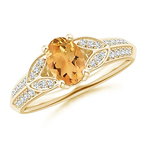 Knife-Edged Oval Citrine Solitaire Ring with Pave Diamonds in 14K Yellow Gold (7x5mm Citrine)