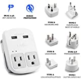 Ceptics World Travel Adapter Kit - 2 USB + 2 US Outlets, Surge Protection, Plug for Europe, UK, China, Australia, Japan - Perfect for Laptop, Cell Phones (Does Not Convert Voltage)