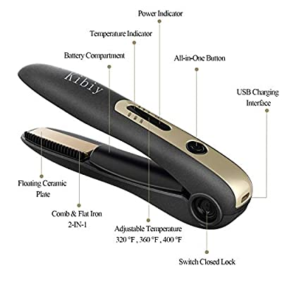 Kibiy Cordless Mini Flat Iron USB Travel Rechargeable Hair Straightener Portable Wireless Straightening Irons with 3D Floating Ceramic Plates for Women Electric Beard Straightener for Men