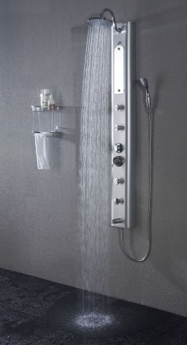 (Art of Bath DB-8003 Wall Mount Easy Connection 60 Bathroom Shower Panel System w/Rainfall Head, 4 Massage Jets Sprays, and Spout/On)