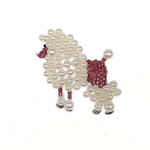 (Vintage Addiction Pink Swarovksi Crystal Elements Poodle Brooch)