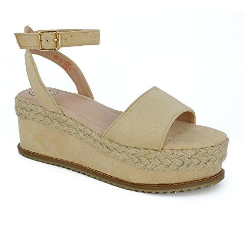 210d2f805d4 Essex Glam Women s Ankle Strap Wedge Heel Faux Suede Espadrille Flatform  Sandals good