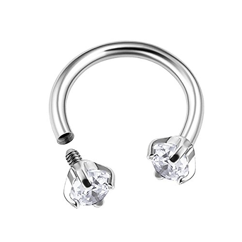 Surgical Steel Internally Threaded Horseshoe Hoop 16 gauge 5/16 8mm 3mm Clear CZ Tragus Earrings Helix Piercing Jewelry (16g Belly Ring)