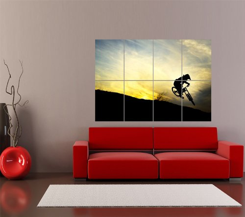 Downhill Mountain Bike Silhouette Bicycle Sport Giant Art Print Poster