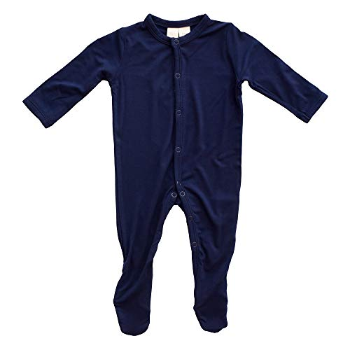 KYTE BABY Footies - Baby Footed Pajamas Made of Soft Organic Bamboo Rayon Material - 0-24 Months - Solid Colors (Newborn, Navy)