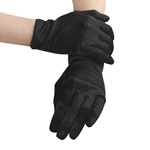 Womens Elegant Opera Short Satin Gloves Ladies Classic