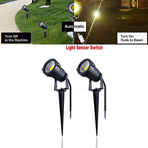 Sensing Flag - Mopao 7W LED Landscape Lights 12V Waterproof Garden Pathway Lights Warm White Walls Trees Flags Light Sensing Outdoor Light SensingSpotlights with Spike Stand (2 Pack)