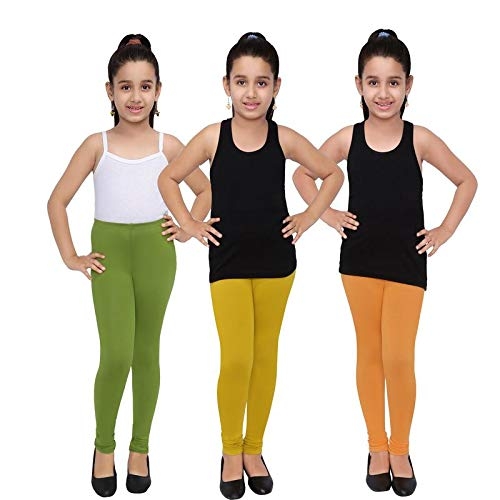 Indistar Big Girls Cotton Full Ankle Length Solid Leggings -Multiple Colors-9-10 Years Pack of 3