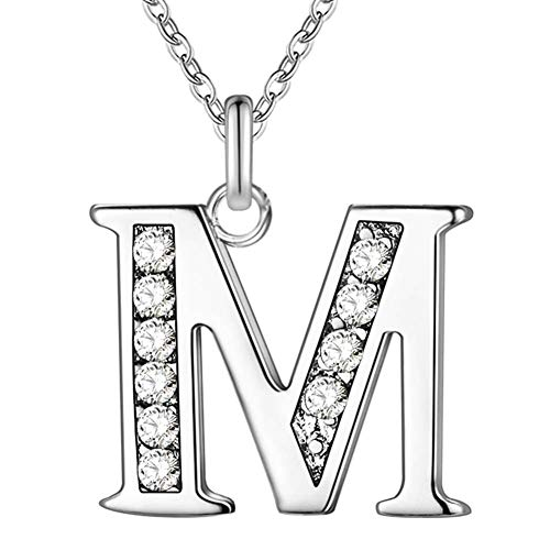 - SWOPAN Initial 26 Letters Alphabet Personalized Monogram Name Charms Pendant Necklace for Women Silver Link Chain Jewelry with Cubic Zirconia - Letter M