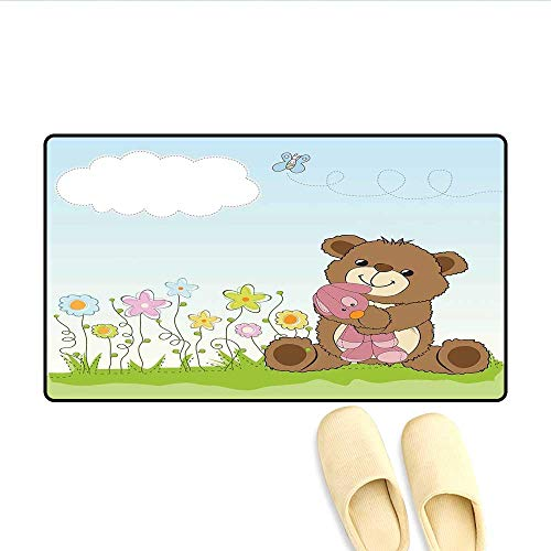 Doormat Cartoon Style Cute Teddy Bear with Toy in Meadow Swirled Flowers Butterfly and Cloud Bath Mat for Tub Multicolor -