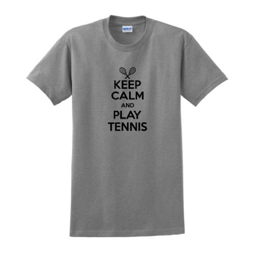 Keep Calm and Play Tennis T-Shirt XL Sport Grey (Poly String Tank)
