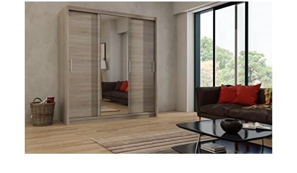 maprio grandes puertas correderas barra para colgar ropa, 250 cm de ancho 3 estantes armario puerta armario con espejo en trufa de madera de roble efecto color muebles de dormitorio pasillo: Amazon.es: