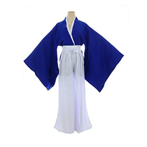 SSJ:Rurouni Kenshin Style Kimono Hakama Cosplay Costume [ L/XL Size For Men ] Japanese Anime (L, Blue)