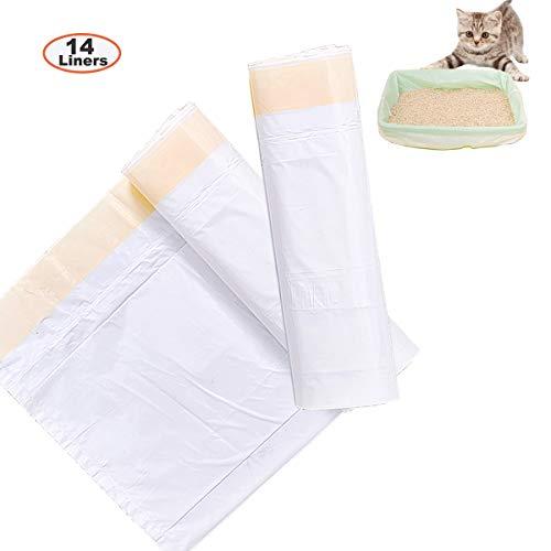 Cat Litter Box Liners, HoaBoly Jumbo Drawstring Cat Litter Pan Bags Heavy Duty, Durable Kitty Litter Bags for Cats,Pet Supplies(14 Pack)