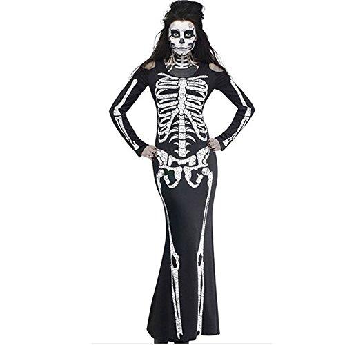 ISEYMI Halloween Skeleton Costume Long Slim Dress Full Sleeves Skirt Black (Womens Skeleton Costume)