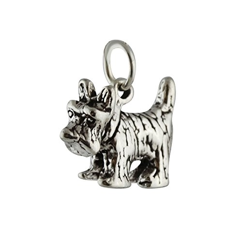 (Scottish Terrier Dog Charm - 925 Sterling Silver - Scottie Pet Aberdeenie NEW Jewelry Making Supply, Pendant, Charms, Bracelet, DIY Crafting by Wholesale Charms)