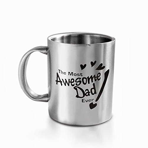 """Hot Muggs """"The Most Awesome Dad"""" Stainless Steel Mug, 350 ml"""